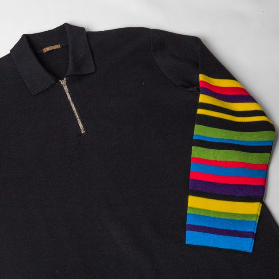 Y's for men COLORFUL SLEEVE HALF ZIP KNIT