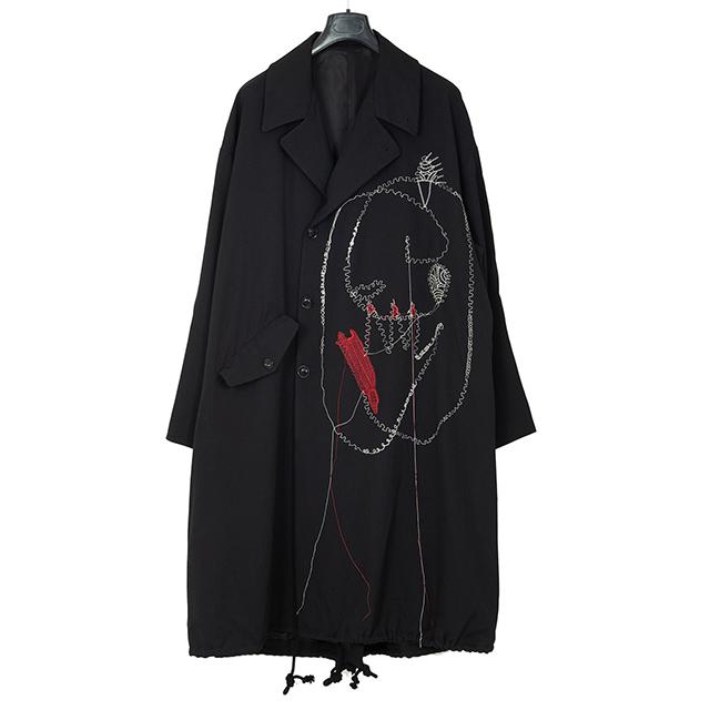 YOHJI YAMAMOTO POUR HOMME Rie Miyazawa Embroidery Wool Gabardine Coat