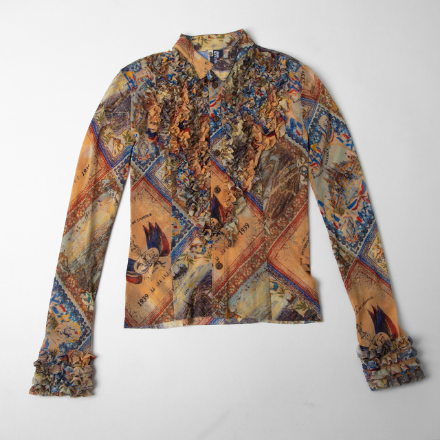Jean's Paul GAULTIER Printed Frill Mesh Shirt