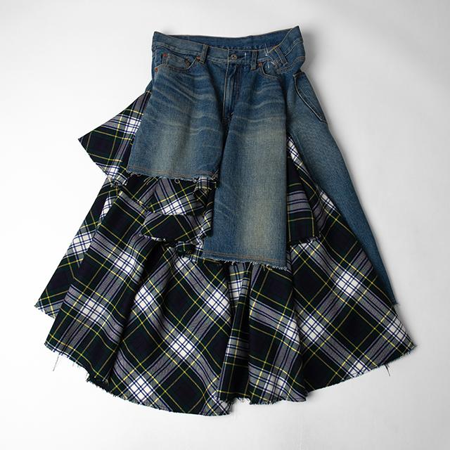 AD2019 JUNYA WATANABE COMME des GARCONS denim Plaids Switching Denim Skirt