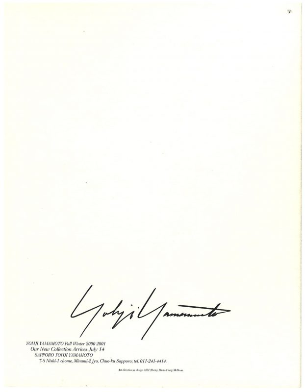 YOHJI YAMAMOTO Fall Winter 2000-2001 Invitation Card