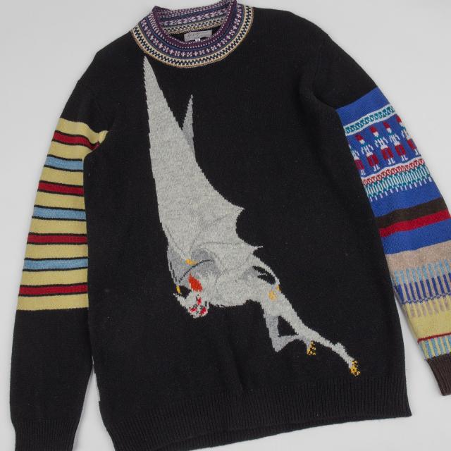 2007A/W Yohji Yamamoto POUR HOMME MASKED RIDER Woven Knit Sweater