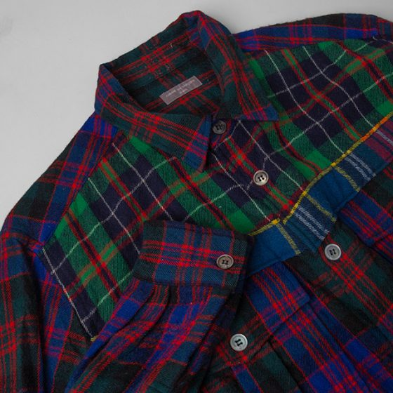 COMME DES GARCONS HOMME Pocket Colorful Plaidas Wool Shirt