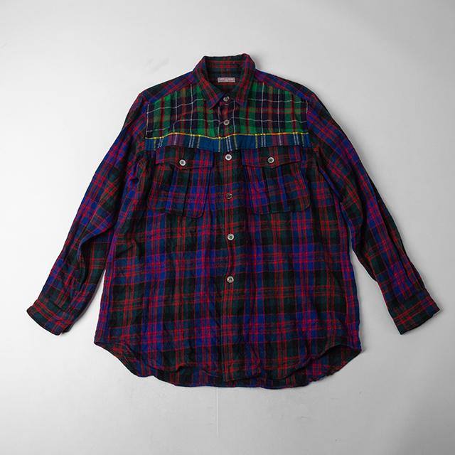 COMME DES GARCONS HOMME Pocket Colorful Plaidas Wool Shirt