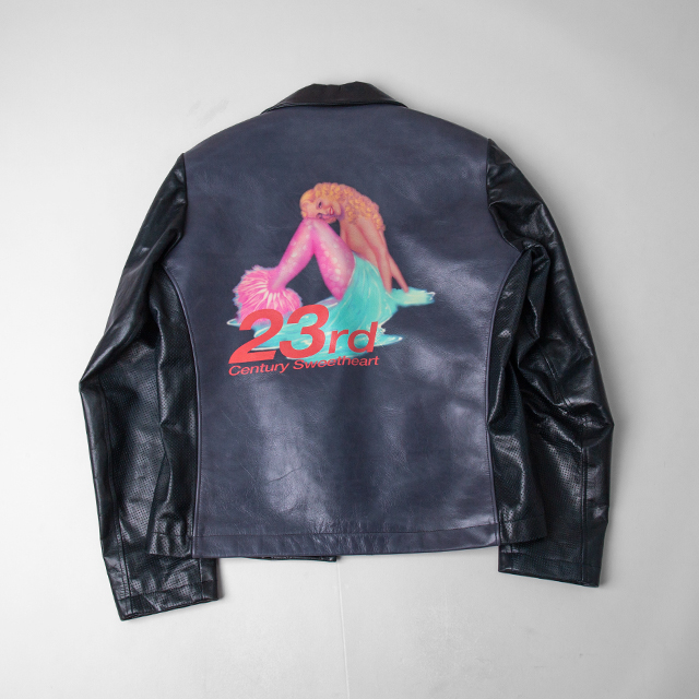 Yohji Yamamoto POUR HOMME  Mermaid Printed Leather Jacket