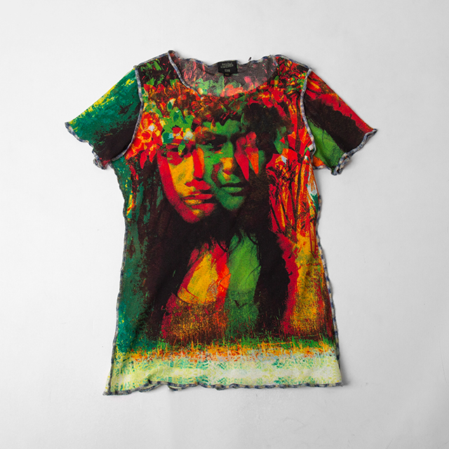 Jean Paul GAULTIER FEMME Colorful Face Printed Mesh Top