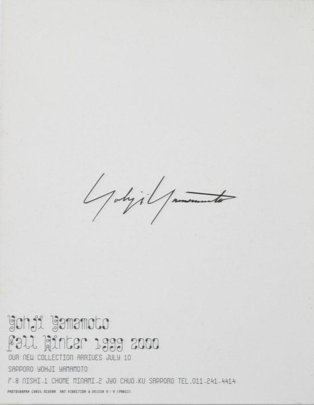 Yohji Yamamoto Fall-Winter 1999 2000 Invitation Card