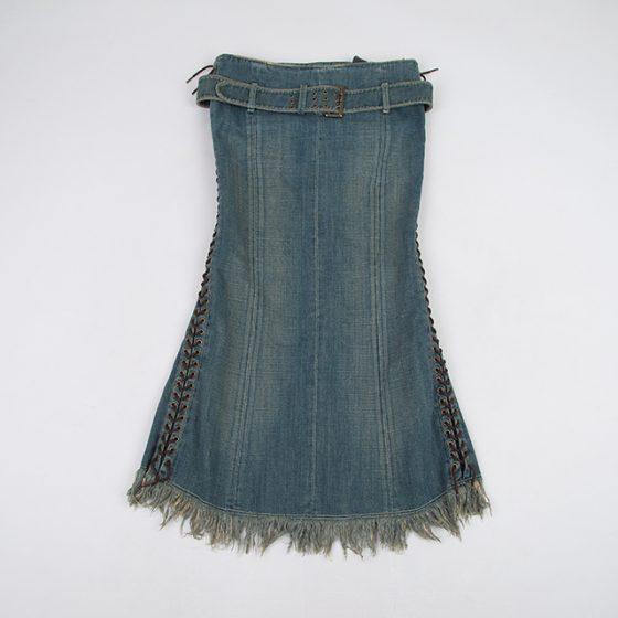Jean's Paul GAULTIER Side Lace up Denim Skirt
