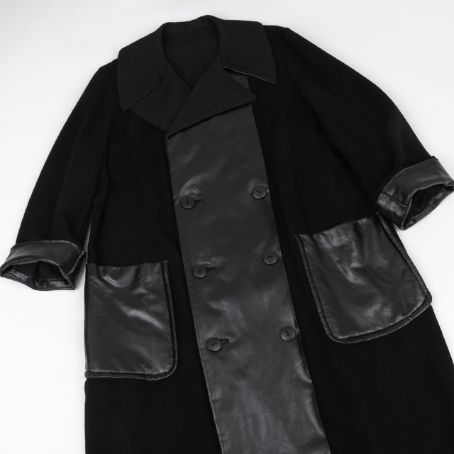 Y's Synthetic leather Switched Coat