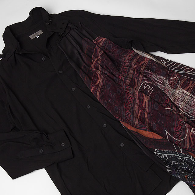 2021A/W Yohji Yamamoto POUR HOMME Printed Drape Switching Long Shirt