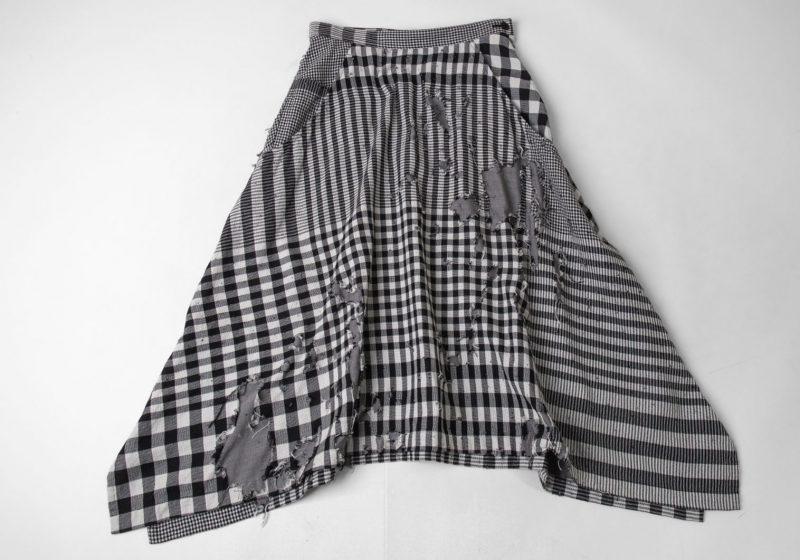 2019S/S Y's Plaid Destroy Design Woven Skirt
