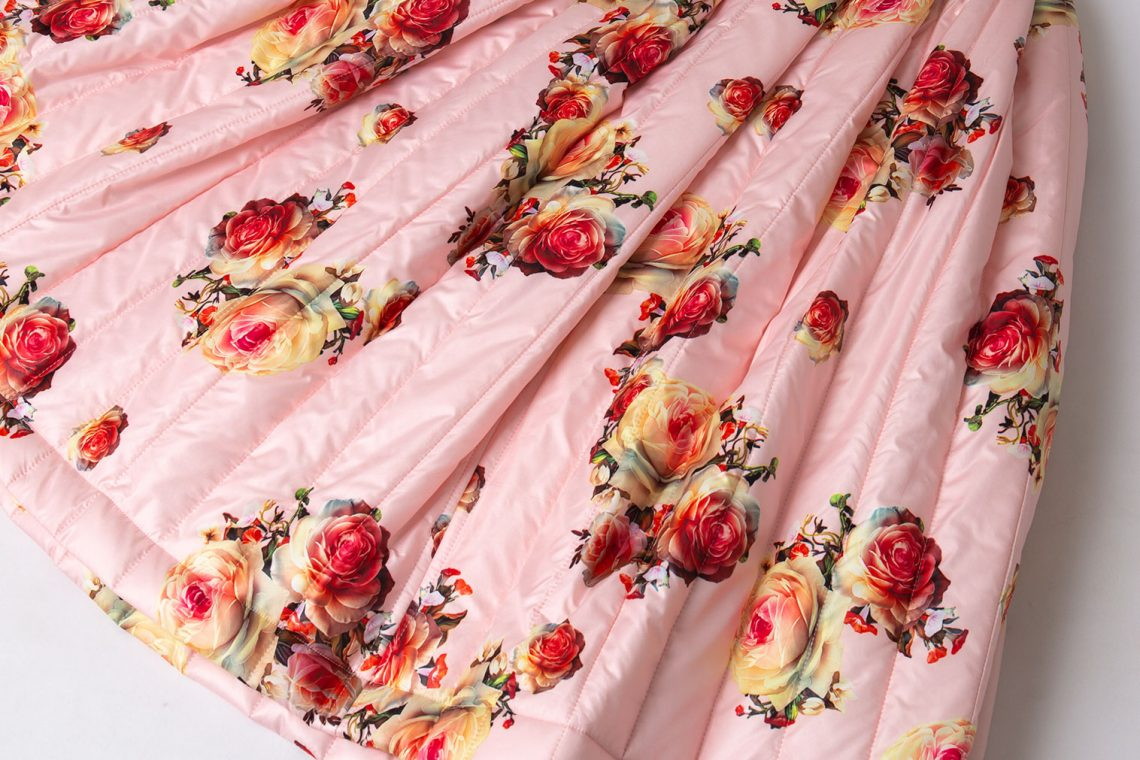 AD2019 COMME des GARCONS Rose Printed Padding Skirt