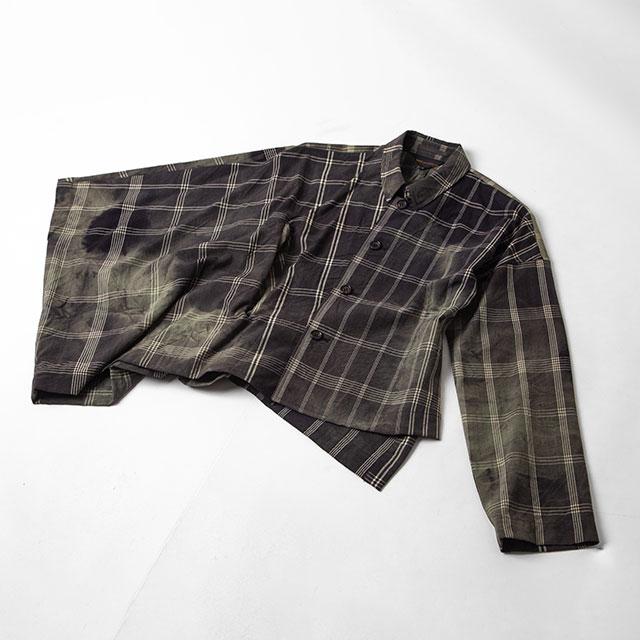 1992S/S COMME des GARCONS Dyed Plaid Asymmetry Sleeve Design Shirt