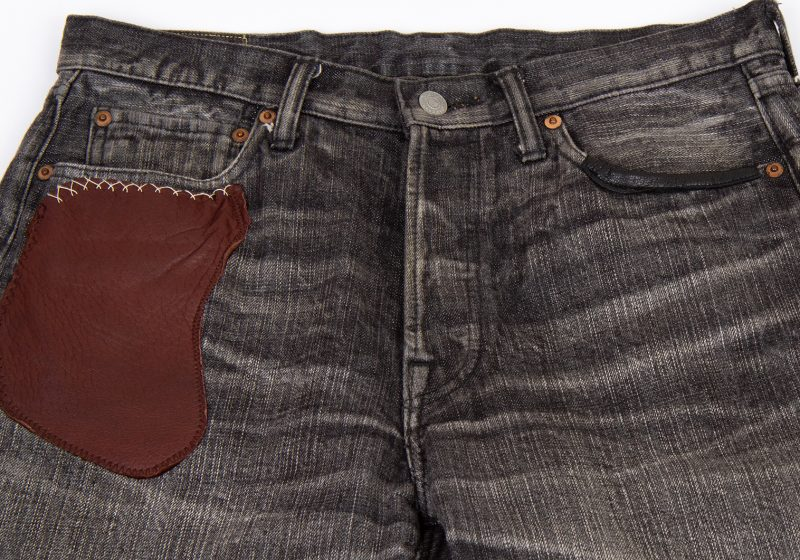 Y's for men Leather Patched Design Jeans