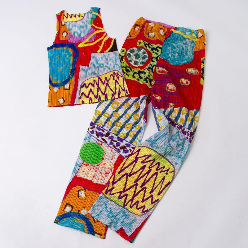 PLEATS PLEASE ISSEY MIYAKE Graphic Printed Pleats Top & Pants