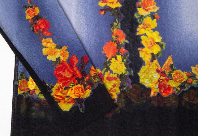 Jean Paul GAULTIER Floral Printed Mesh Top