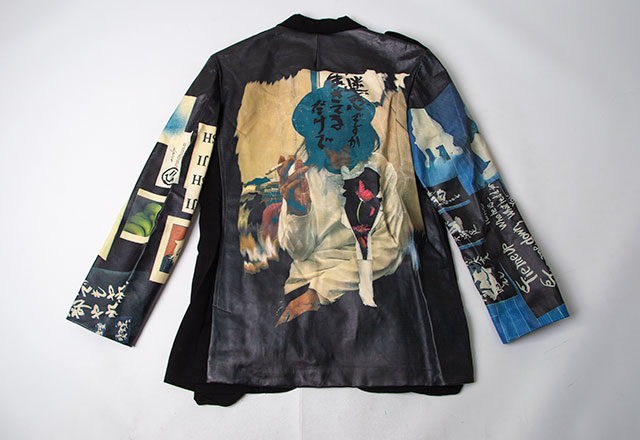 2019S/S Yohji Yamamoto POUR HOMME Message Printed Leather Switching Jacket