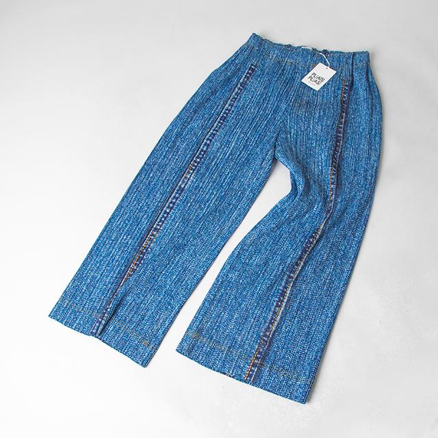 PLEATS PLEASE Denim Pattern Printed Pants