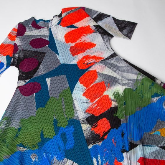 2019S/S PLEATS PLEASE ISSEY MIYAKE Paint Printed Flare Dress