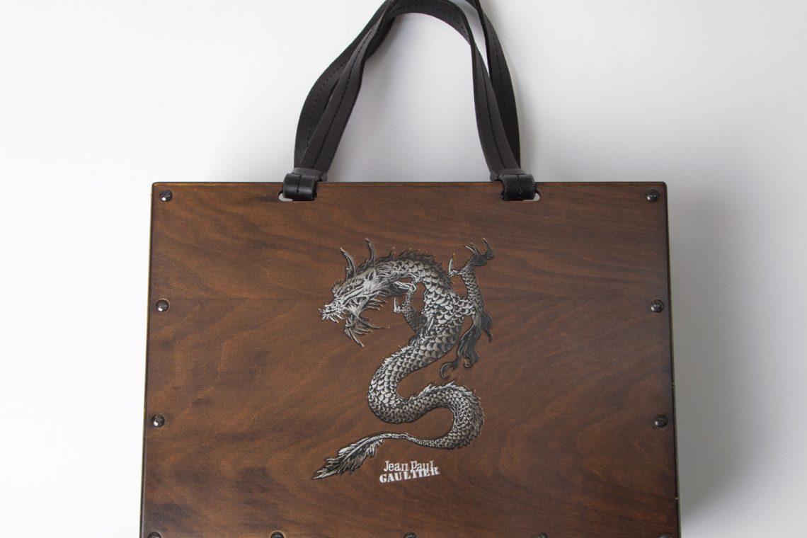 Jean Paul GAULTIER Wood Panel Dragon Hand Bag