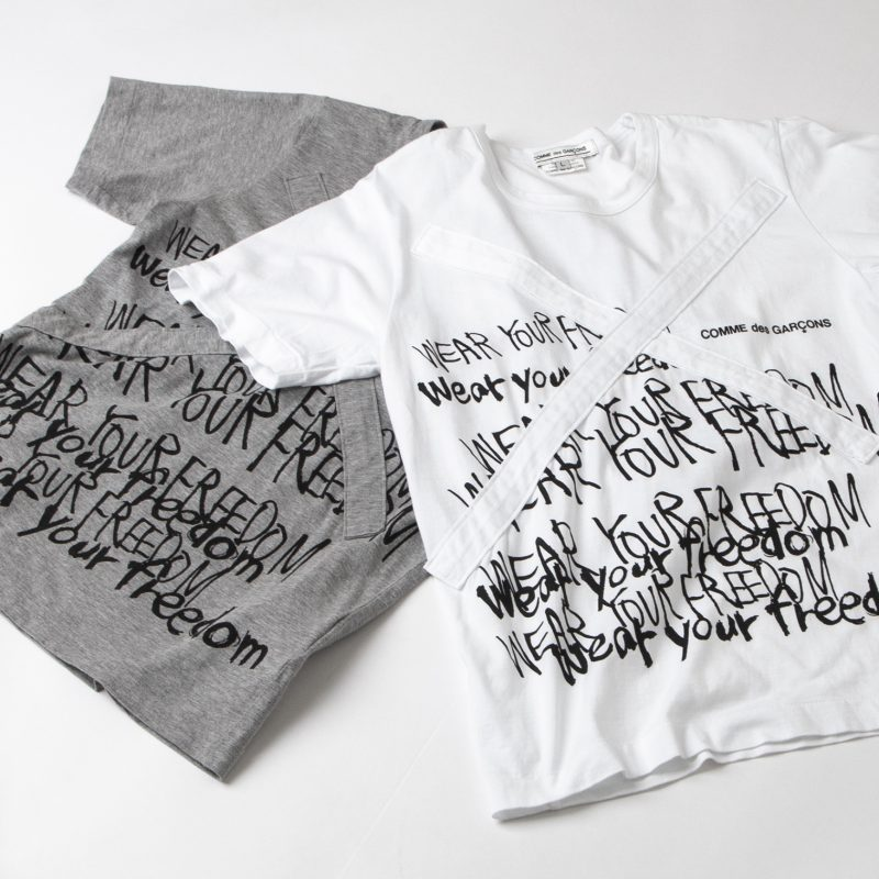 COMME des GARCONS Message Printed Cross Patched T-shirt